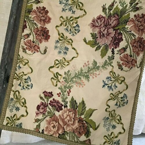 "Antique 19th Century Silk Brocaded Runner Fabric Floral Lovely! 88"" X 17.5"""