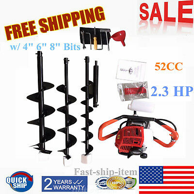 52cc Gas Powered Earth Auger Post Fence Hole Digger With 3bitsextension Bar Ups
