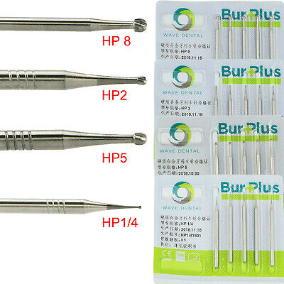 5pcs Dental Tungsten Carbide Burs Low Speed For Clinic Lab Round Hp 2 5 8 14