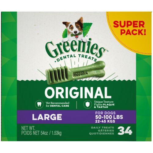 Greenies Large Dental Dog Treats - 34 count 54 oz NEW + FREE SHIPPING !!!