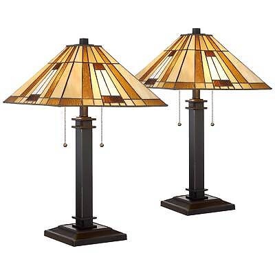 (Giselle Bronze And Tiffany Glass Accent Table Lamp Set Of 2)