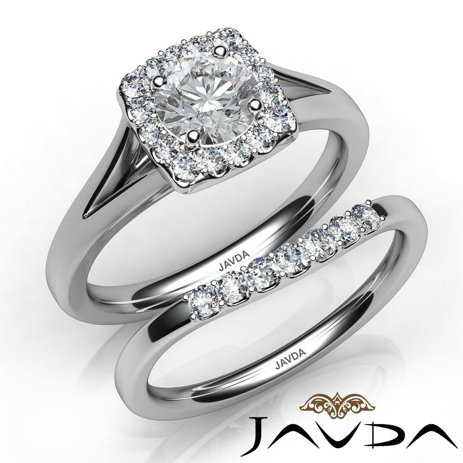 1.22ct Halo Side Stone Bridal Set Round Diamond Engagement Ring GIA F-VS1 W Gold