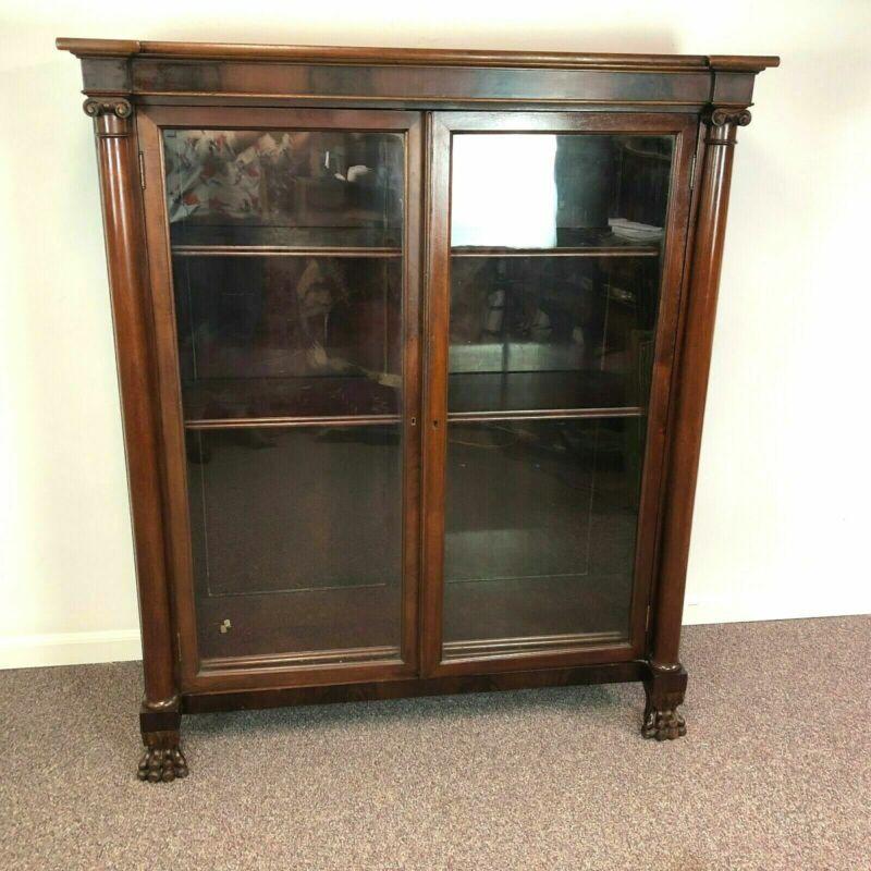 19th Century Mahogany Empire Glass Door Bookcase w/ 4 Adjustable Shelves