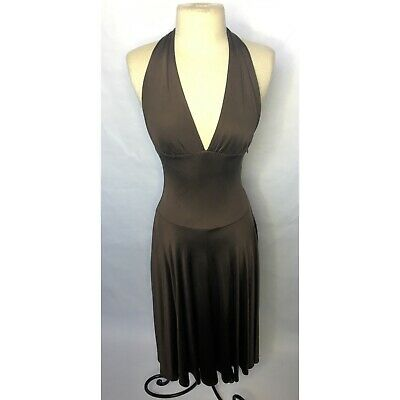 Karanina Brown Silk Halter Neck A-Line Knee Length Midi Dress NEW With Tags - 4