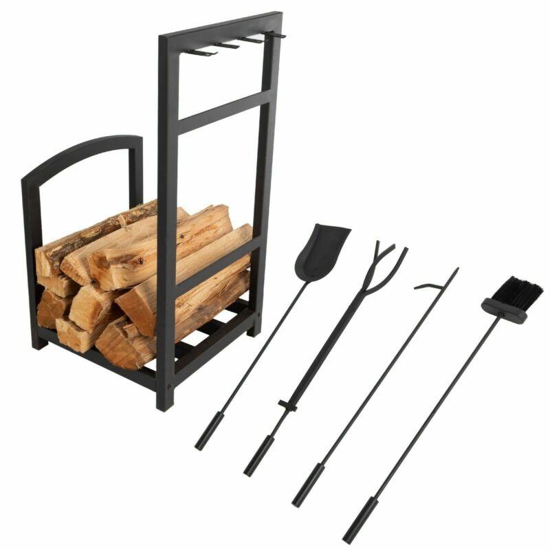 Iron Log Rack and Fireplace Set Tools Brush Tongs Poker Dust Pan 27 Inch High