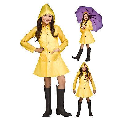 Child Girls IT Morton Salt Coraline Halloween Costume Yellow Raincoat Jacket