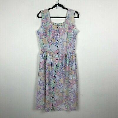 80s Dresses | Casual to Party Dresses Vintage 1980s Floral Dress Size M L  Button Up Pastel Sleeveless Cotton Womens  $11.40 AT vintagedancer.com