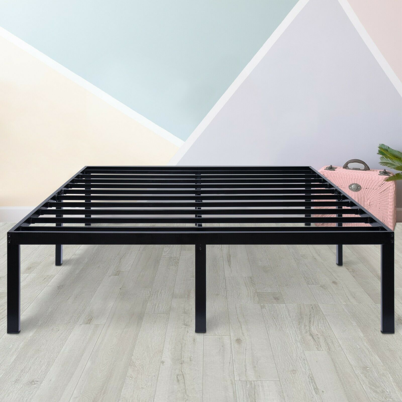 SLEEPLACE 16 Inch Tall Metal Bed Frame Easy Assembly Black T