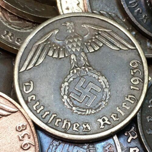 1 Reichspfennig  - Original German WWII coin with swastika
