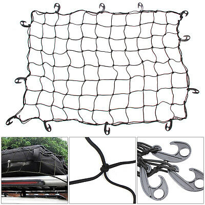 LARGE CARGO NET CAR VAN TRUCK TRAILER 12 HOOKS BUNGEE CORD ATV RACKS NETS NEW 5.