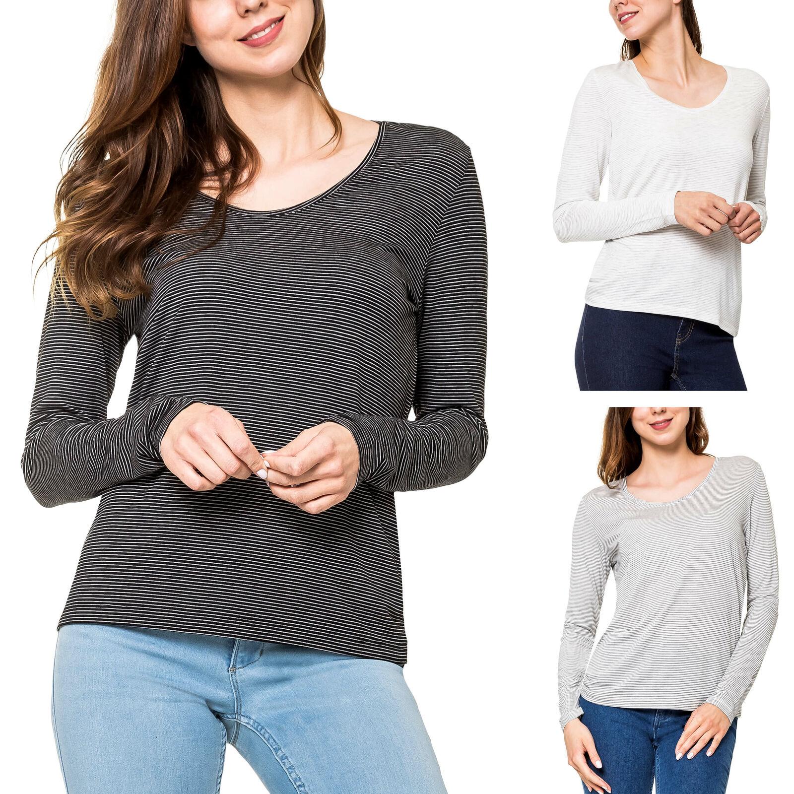 Pieces Damen Langarmshirt Stretch Basic T-Shirt Longshirt Longsleeve Longtop %