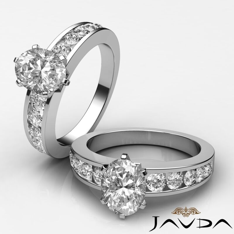 Oval Diamond Engagement Prong Channel Set Wedding Ring Gia H Vs2 Clarity 1.7ct