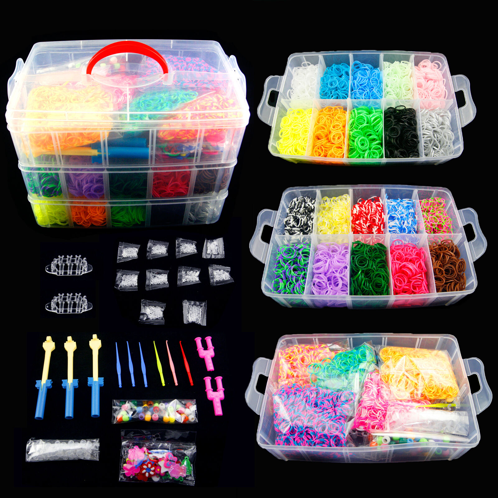 Colorful Rainbow Rubber Loom Bands Bracelet Making Kit Set ...