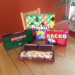 Board Games, including BLokus, Scrabble, Racko and a tile game.