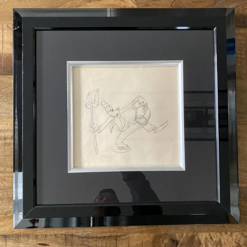 "Walt Disney Studios ""Goofy"" Framed Original Production Drawing Circa 1930"