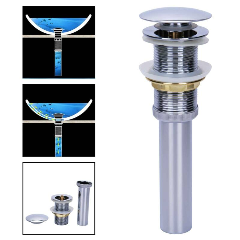 Universal Ablaufgarnitur Pop Up Ventil Ablaufventil mit Überlauf für Waschbecken