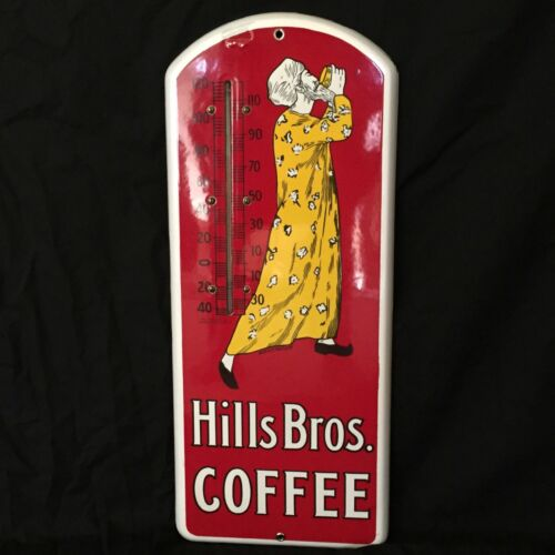 ANTIQUE ORIGINAL HILLS BROTHERS COFFEE THERMOMETER PORCELAIN SIGN - NEAR MINT