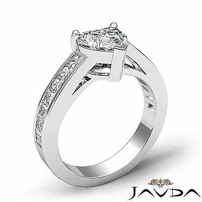 4 Prong Channel Setting Womens Heart Cut Diamond Engagement Ring GIA F VS2 1.5Ct 1