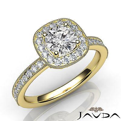 Milgrain Edge Halo Pave Bezel Set Round Diamond Engagement Ring GIA I VS2 1.21Ct