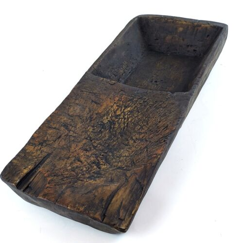 """Large 24"""" Primitive Like Carved Wood Wooden Resin Photography Prop Bowl Tray"""