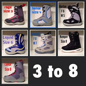 Snowboard Boots Size 3 to Men's 8