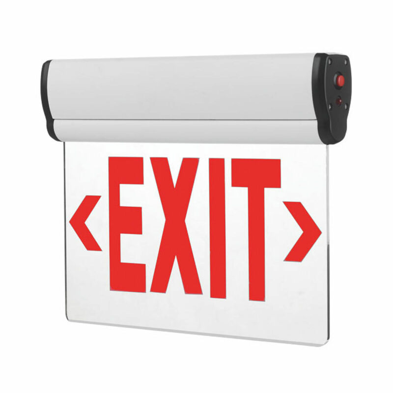 LED Exit Sign - 90 Minute Emergency Backup Battery Edge Lit Red Wall / Ceiling