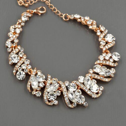 050533d1488df Комплект бижутерии ROSE GOLD GP Crystal Necklace Earrings Bracelet Bridal  Wedding Jewelry Set 00490