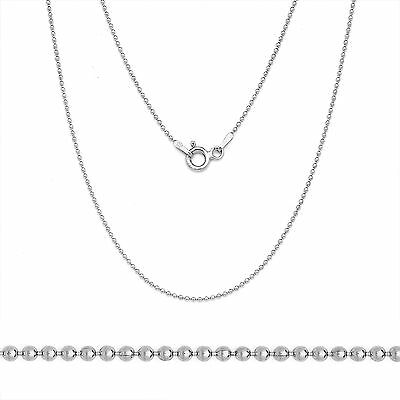 925 Sterling Silver 14k White Gold Bead Ball Solid Link Chain Necklace Italian (14k White Gold Ball Necklace)
