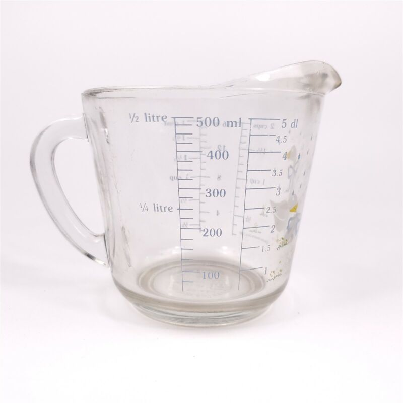 Anchor Hocking Glass 2 Cup Measuring 498 Rain Drop Geese Ducks 1987