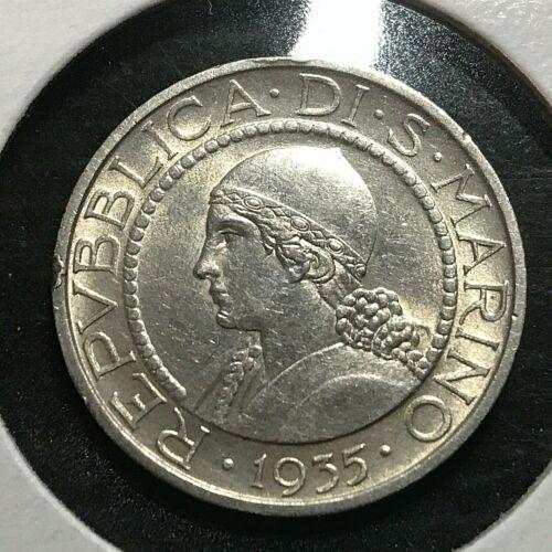 1935 SAN MARINO SILVER 5 LIRE HIGH GRADE COIN