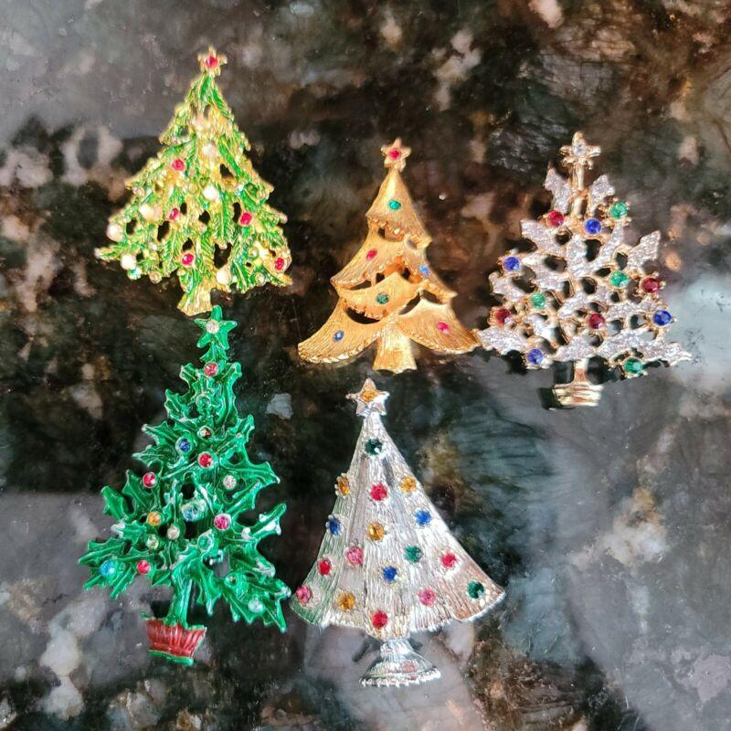 Vintage Christmas Tree Rhinestone Pins 5 1960s/1970s