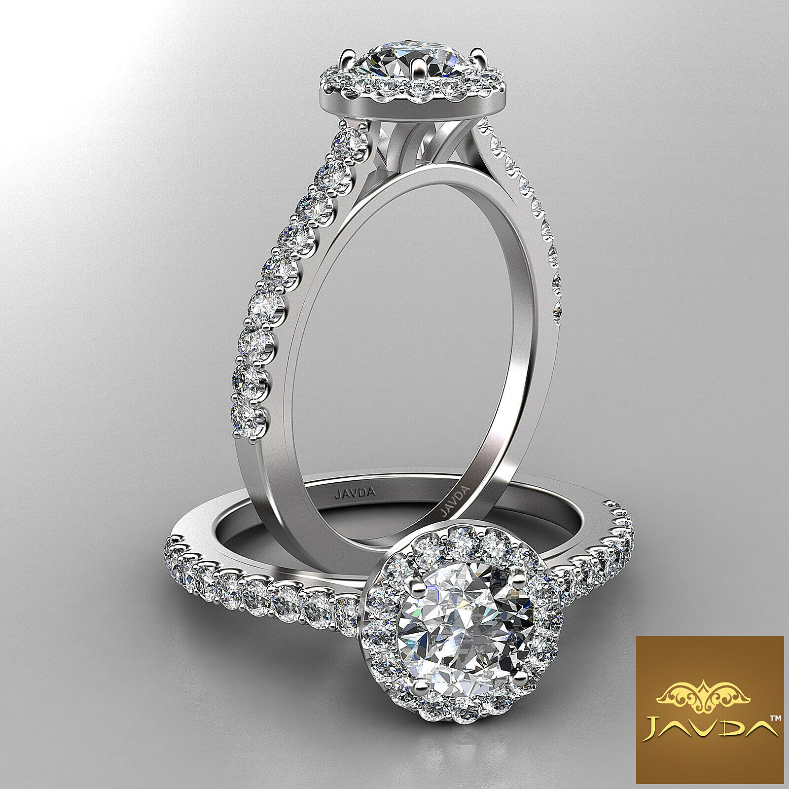 0.9ctw Shared Prong Set Halo Round Diamond Engagement Ring GIA F-SI1 White Gold