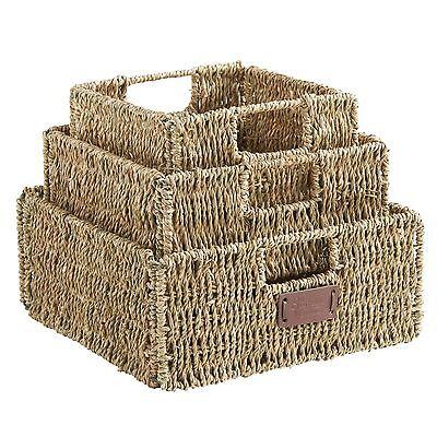 VonHaus Set of 3 Square Seagrass Storage Organizer Baskets with Insert - Square Storage Baskets