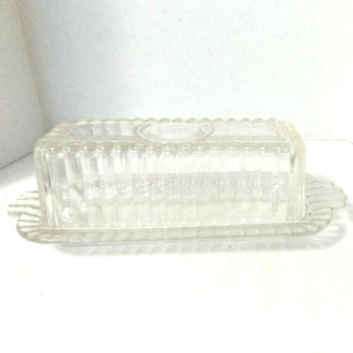 Vintage Deco Style Ribbed Clear Pressed Glass Butter Dish