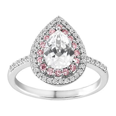 Pear Shaped Sapphire (2 ct Created White & Pink Sapphire pear-Shaped Ring in Sterling)