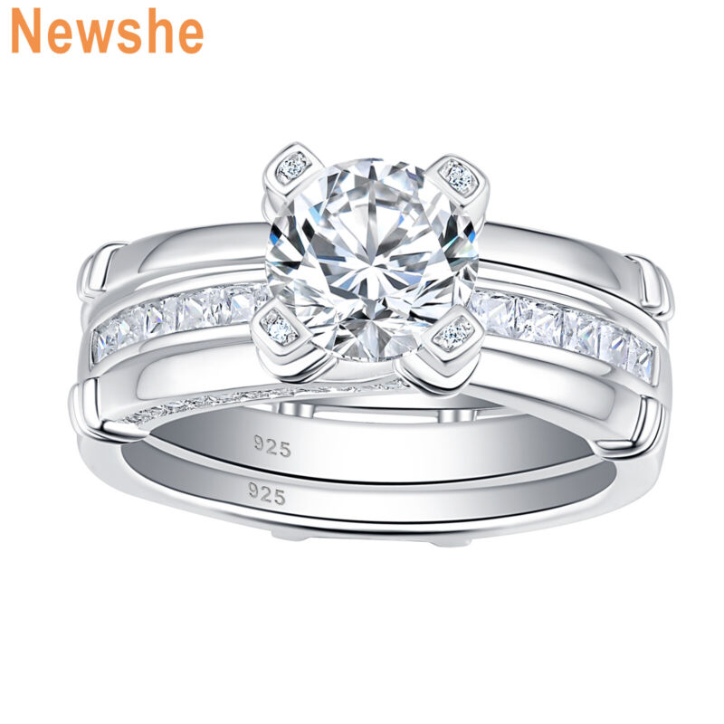 Newshe Engagement Wedding Ring Set For Women 1.79ct Round Cz 925 Sterling Silver