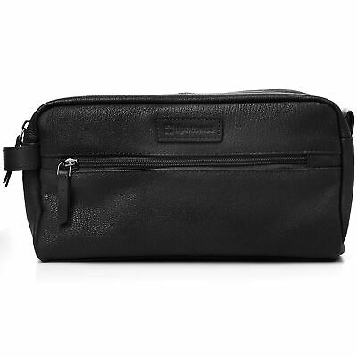 AlpineSwiss Sedona Toiletry Bag Genuine Leather Shaving Kit