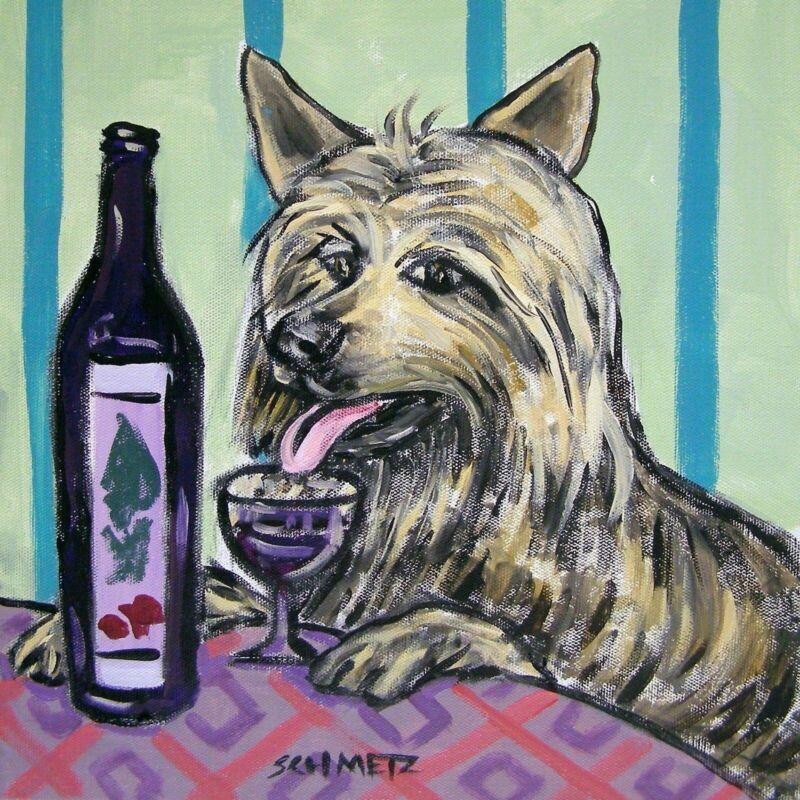 australian silky terrier wine art tile coaster gift modern folk JSCHMETZ