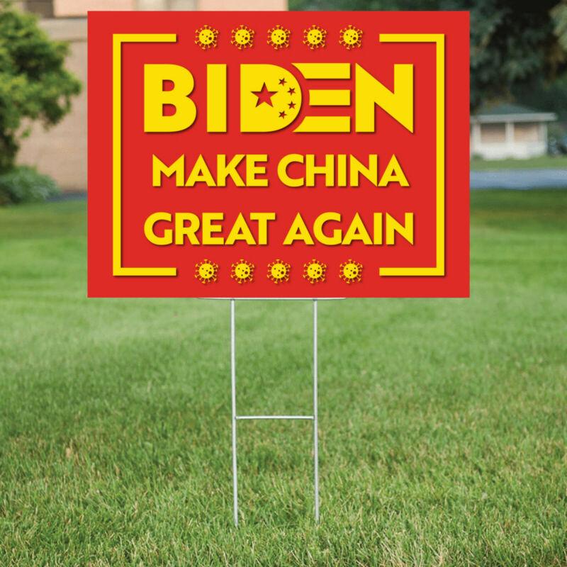 JOE BIDEN MAKE CHINA GREAT AGAIN YARD SIGN 18in x 24in Double Sided & Frame
