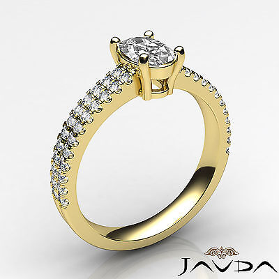French U Pave Set Oval Diamond Engagement Ring GIA Certified E VVS1 Clarity 1Ct 1