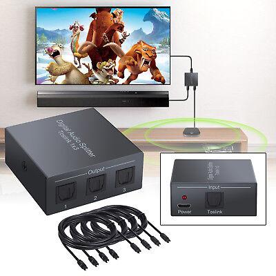 Toslink Audiosplitter+4pcs 6.5ft optisches Kabel Digitaler 3Wege Spdif Optischer 6 Audio-splitter
