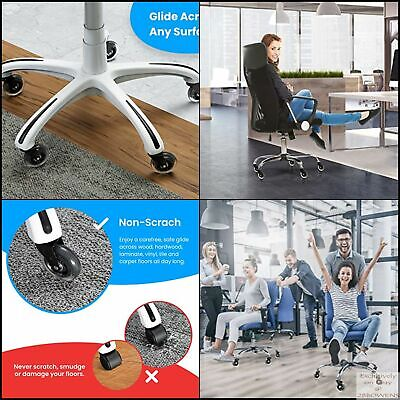 Office Chair Wheels Replacement Rubber Chair Casters Universal Fit