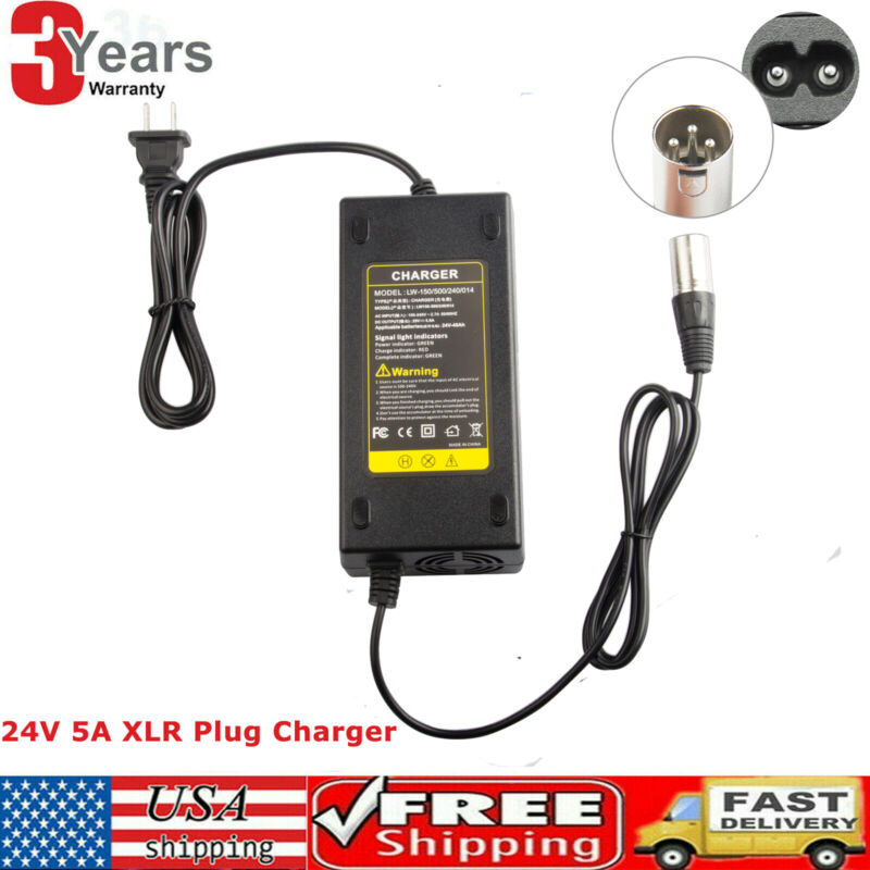 24V 5A Battery Charger XLR for Wheelchairs,Pride Mobility,Jazzy Power Chair