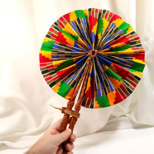 Traditional African Burgundy Leather Folding Fan Bright Colors Tribal