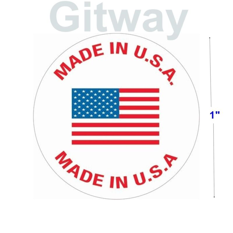 """500 Roll of Made in U.S.A. 1"""" Diameter labels stickers with USA Flag in Center"""