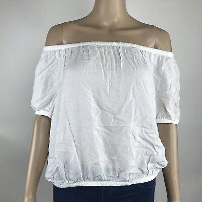 Express Womens Clothing Xs White Off The Shoulder Short Sleeve Blouse Top  49