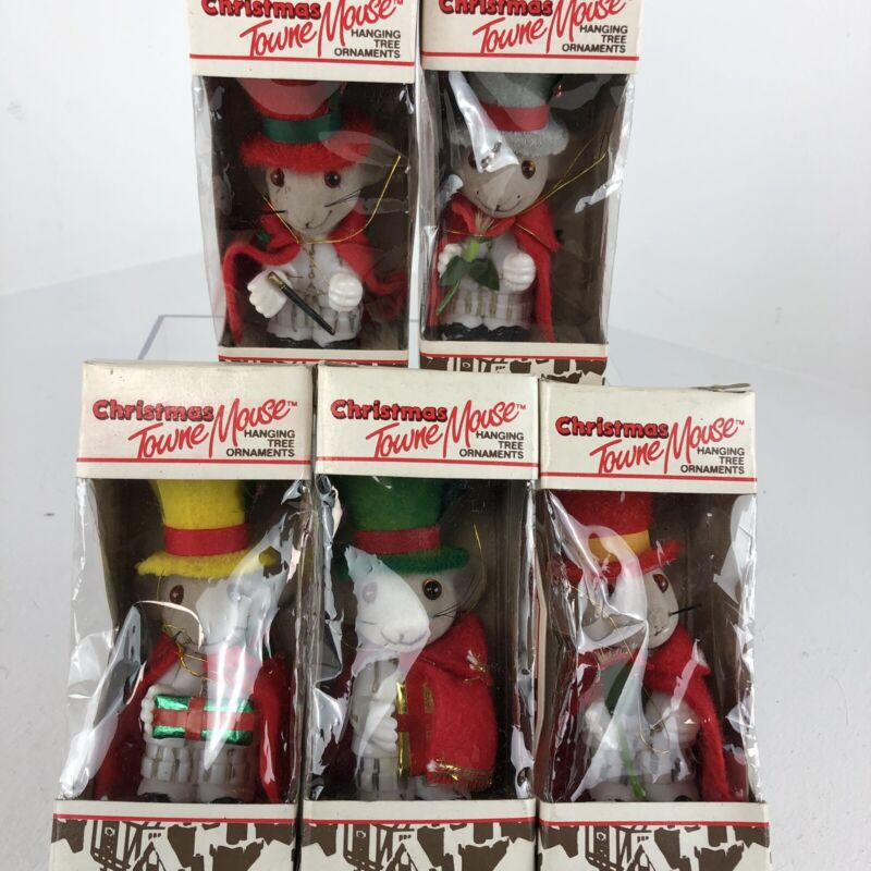Vintage Jasco Towns Mouse Christmas Ornaments Handcrafted Lot Of 5