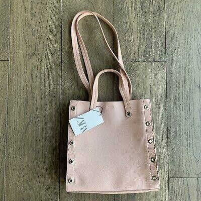 NWT Zara Dusty Pink Stud Shoulder Bag Medium Square Everyday Wear