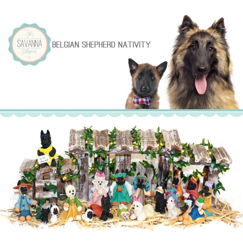 SAVANNASHOPS Dog Nativity Belgian Shepherd Gifts - Nativity Sets - Dog Lover