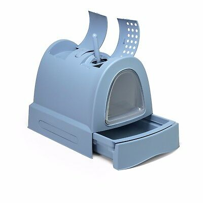 Cat Toilet Covered Litter Tray Fast Cleaning with Schiebefach Blue